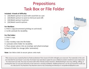 Prepositions Workbox or File Folder