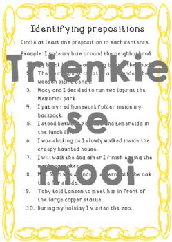 Prepositions-Worksheet 1