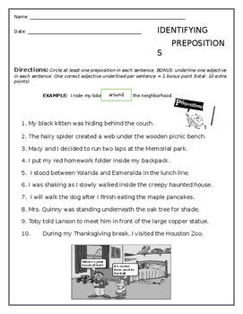 Prepositions Worksheet (FREE)