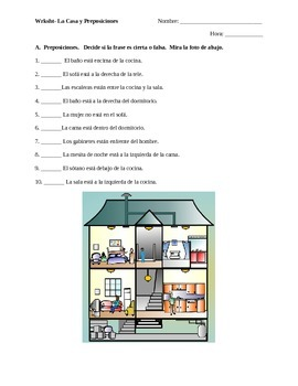 Prepositions Worksheet (using house vocabulary)