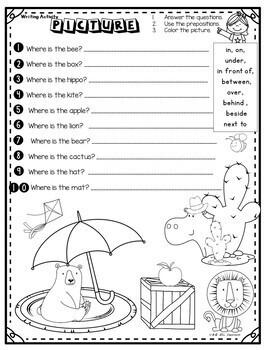 Prepositions -Writing Activities