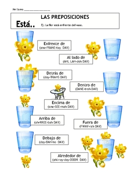 Prepositions and Está in Spanish Vocabulary Sheet & Follow-Up Activity