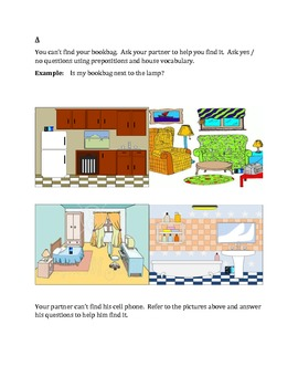 House and Prepositions Partner Speaking activity