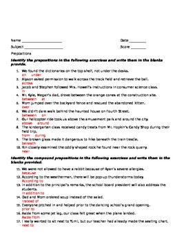 Prepositions and Prep Phrases to Practice