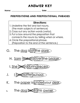 Prepositions and Prepositional Phrases