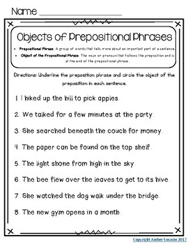 Prepositions and Prepositional Phrases Activities