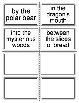 Prepositions and Prepositional Phrases Card Sort