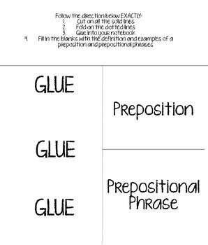 Prepositions and Prepositional Phrases Foldable