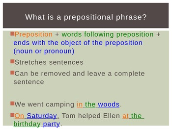 Prepositions and Prepositional Phrases Lesson