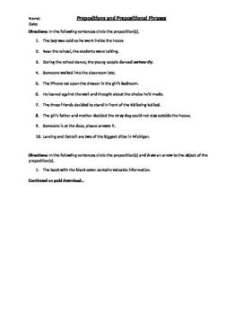 Prepositional Phrase Worksheets
