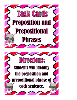 Prepositions and Prepositional Phrases - Task Cards