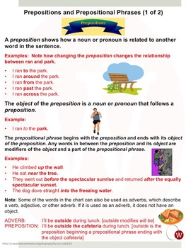 Prepositions and Prepositional Phrases: Warriner's Write it Right 19