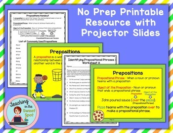 Prepositions and Prepositional Phrases Elementary and Middle School