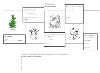 Prepositions and Prepositional Phrases comic strip activity