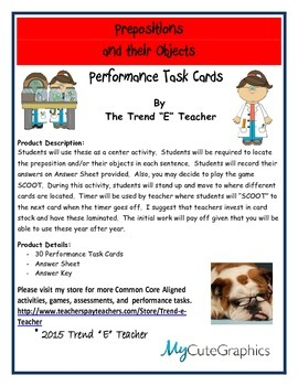 Prepositions and Their Objects Task Cards:  Common Core Aligned