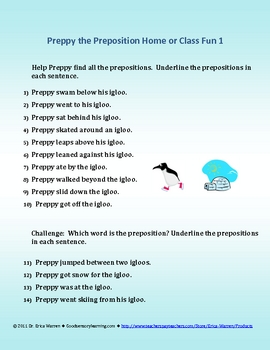 Prepositions are a Blast with Preppy the Preposition Penguin