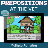 Prepositions at the Vet Boom Cards for Speech Therapy Dist