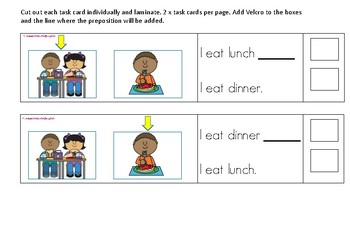 Prepositions: before and after task cards/visual timetable/ social stories