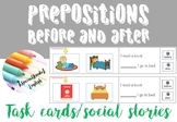Prepositions: before and after task cards/visual timetable