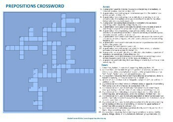 Prepositions crossword with word list and definitions (ESL A1/B2)
