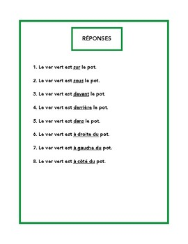 Prépositions de lieu, prepositions of place worksheet in French