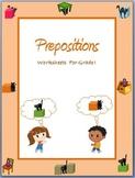 Prepositions - Worksheets for Grade I