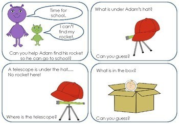 Prepositions in Space - A booklet to practice using in, on, and under