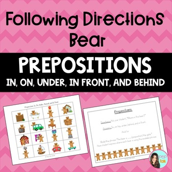 Prepositions (in, on, under, behind, and in front)- Following Directions Bear