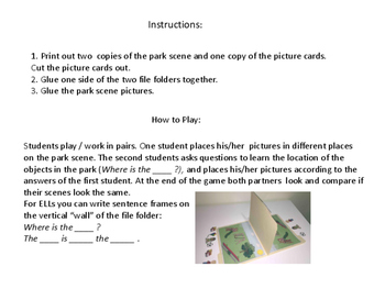 Prepositions in the Park: File Folder Game