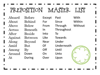 Prepositions: master/student list freebie by Amy Mecham | TpT