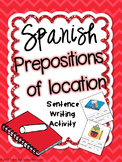 Prepositions of Location Spanish Sentence Writing Station Activities