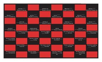 Prepositions of Movement Text Checker Board Game