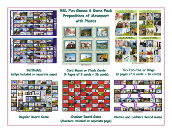 Prepositions of Movement with Photos 6 Board Game Bundle