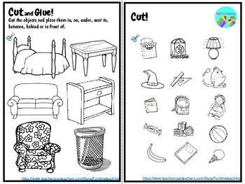 Prepositions of Place ESL EFL Cut and Glue Worksheets