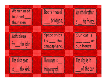 Prepositions of Place & Location Cards