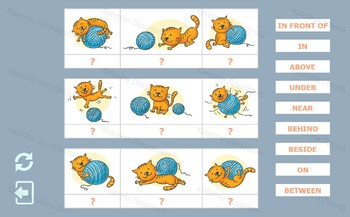 Prepositions of Place. Matching game for kids for interative SMARTboard.