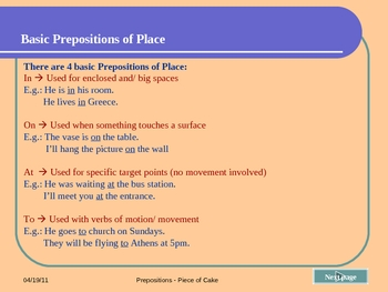 Prepositions of Place - Piece of Cake, Grammar, pps, with test