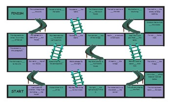 Place Prepositions Legal Size Text Chutes and Ladders Game