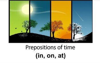 Distance Learning. Prepositions of Time; In On At. Presentation with Practice.