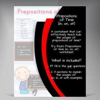 Prepostions of Time Printable