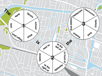 Prepositions of place / places in town spinner