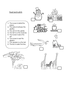 Prepositions of place - worsheet