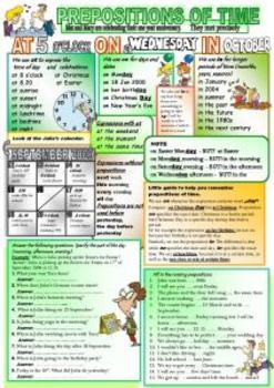 Prepositions of time - guide and excercises