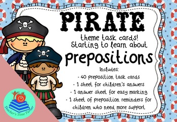 Prepositions task cards - pirate theme