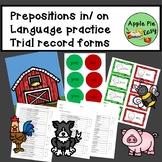 Prepositions language receptive & expressive barn unit 1  in on
