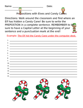 Prepositions with Elves and Candy Canes