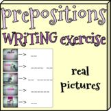 Prepositions writing exercise with real pictures