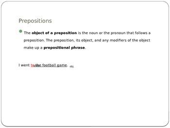 Prepositions/Prepositional Phrases