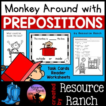 Prepositon Monkey Task Cards with Positional Words Reader