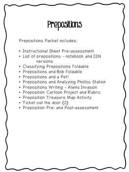 Preposition Projects, Activities, and More